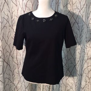 Talbots ponté top with jewels bling